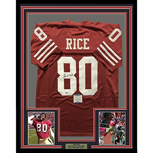 791a80084 Framed Autographed/Signed Jerry Rice 33x42 San Francisco 49ers Red Football  Jersey Beckett BAS COA ...