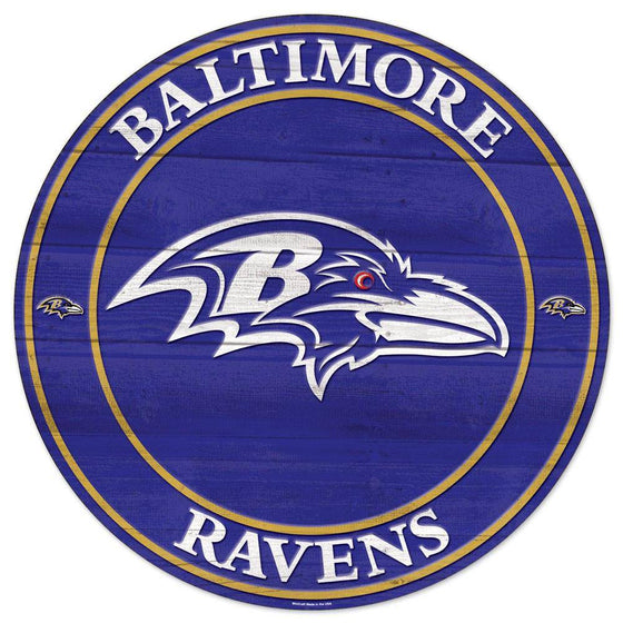 NFL Baltimore Ravens Round Wooden Sign 19.75""