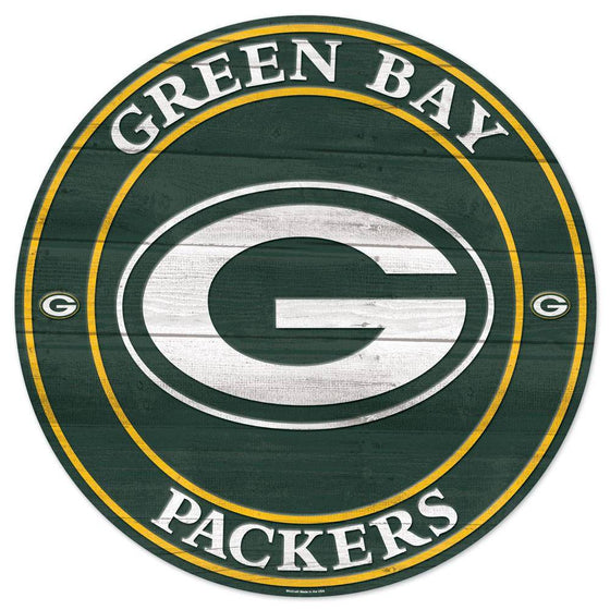 NFL Green Bay Packers Round Wooden Sign 19.75""