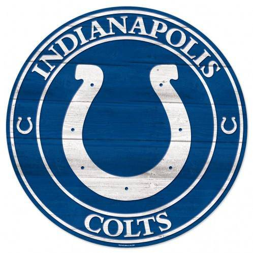NFL Indianapolis Colts Round Wooden Sign 19.75""