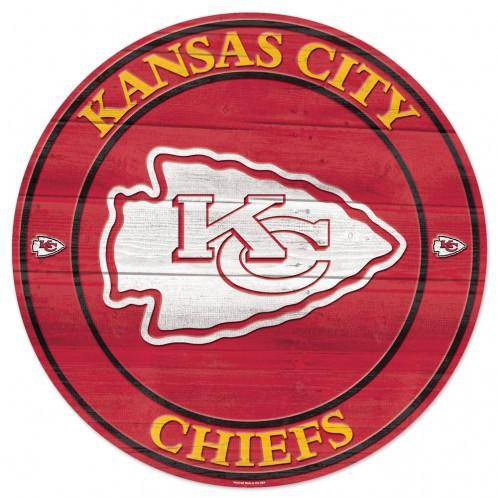 NFL Kansas City Chiefs Round Wooden Sign 19.75""