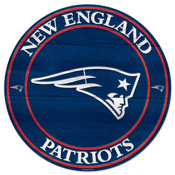 NFL New England Patriots Round Wooden Sign 19.75""