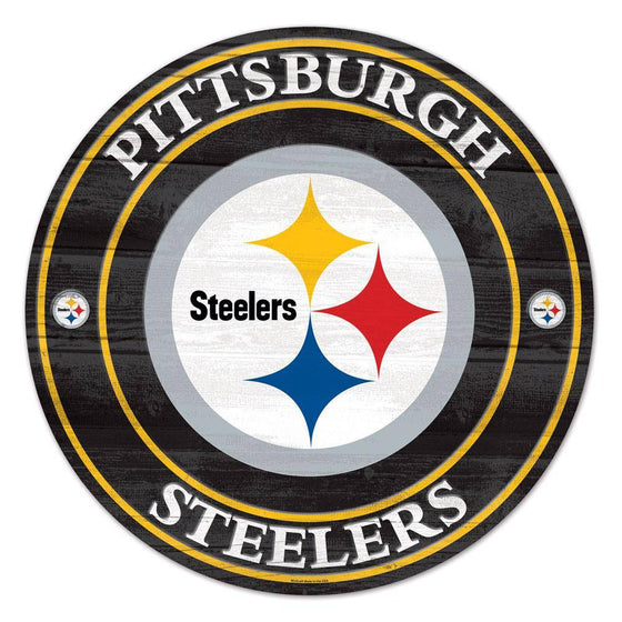 NFL Pittsburgh Steelers Round Wooden Sign 19.75""