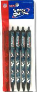 Miami Dolphins Click Pens - 5 Pack - 757 Sports Collectibles