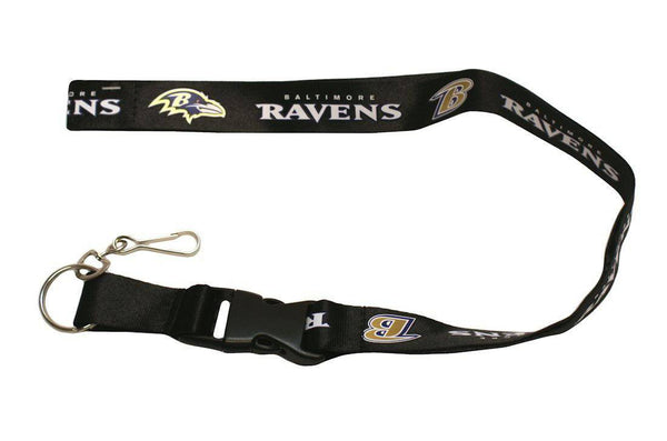 "Baltimore Ravens Black Breakaway Lanyard 26"" Buckle w/ Key Ring"