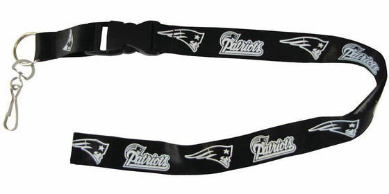 "New England Patriots Blackout Breakaway Lanyard 26"" Buckle w/ Key Ring - 757 Sports Collectibles"