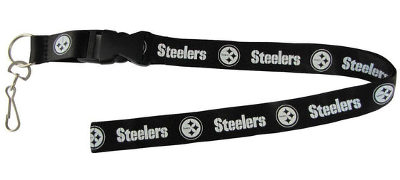 "Pittsburgh Steelers Blackout Breakaway Lanyard 26"" Buckle w/ Key Ring"