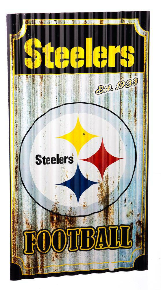 "NFL Pittsburgh Steelers 21.5"" X 12"" Corrugated Metal Wall Art - 757 Sports Collectibles"