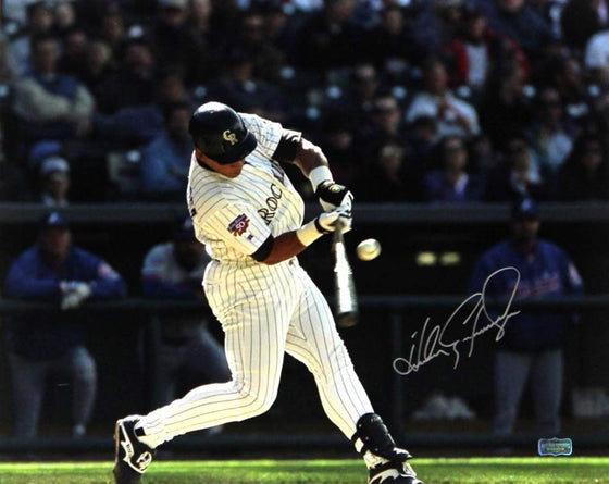Andres Galarraga Autographed/Signed Colorado Rockies 8x10 Ball On Bat