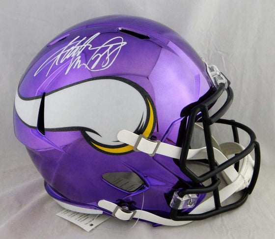 Adrian Peterson Autographed Minnesota Vikings F/S Chrome Helmet- Beckett Auth White