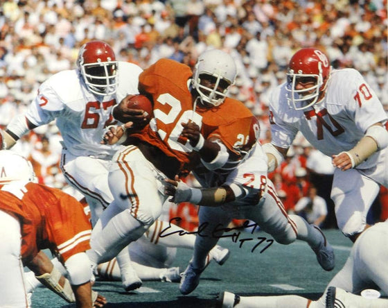 Earl Campbell Signed Texas Longhorns 16x20 Against OU Photo W/HT 77 - JSA W Auth Blk