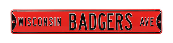 Wisconsin Badgers Steel Street Sign-WISCONSIN BADGERS AVE on Red