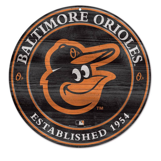 "MLB Baltimore Orioles Round Wooden Sign 19.75"" - 757 Sports Collectibles"