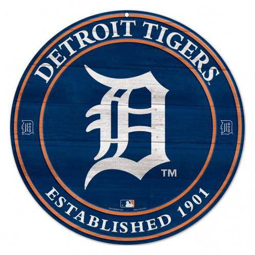 MLB Detroit Tigers Round Wooden Sign 19.75""