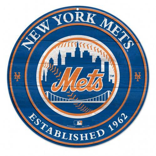 MLB New York Mets Round Wooden Sign 19.75""