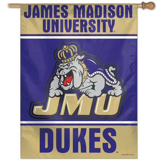 "James Madison Dukes JMU Large Vertical Flag 27""x37"""