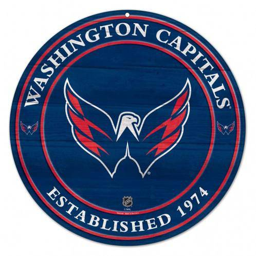 NHL Washington Capitals Round Wooden Sign 19.75""