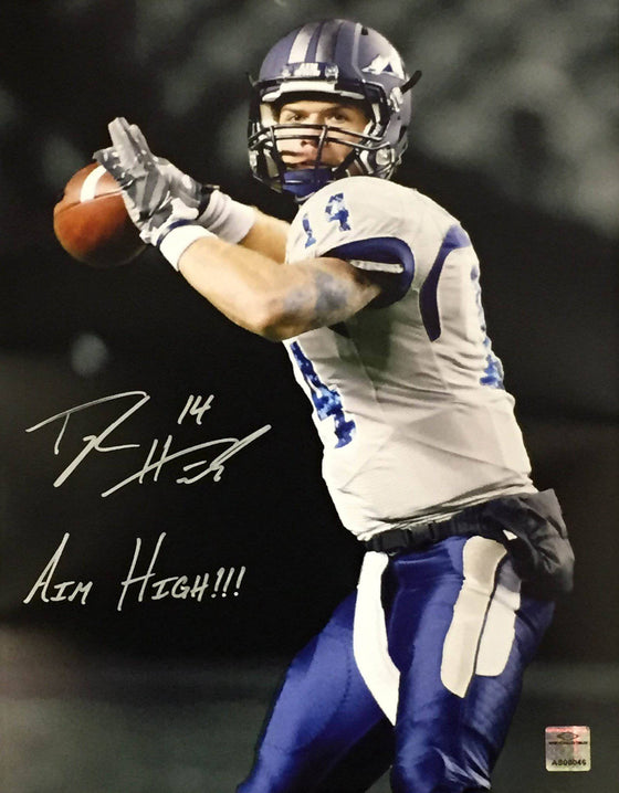 NCAA Taylor Heinicke Old Dominion ODU Monarchs Signed Auto 11x14 Inscribed Aim High!!! ( JSA PSA Pass) 757