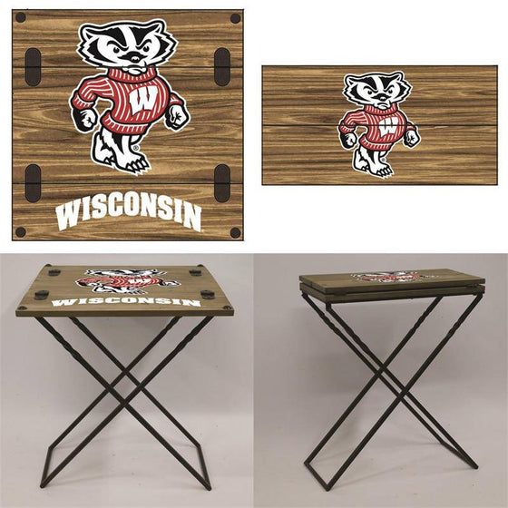 "Preorder - Wisconsin Badgers Folding Armchair Portable Table 20""x20""x24"" - 757 Sports Collectibles"