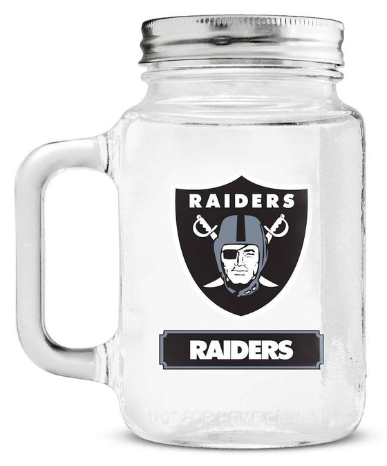 Oakland Raiders Mason Jar Glass With Lid (CDG)