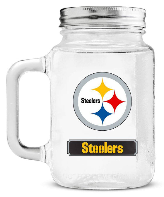 Pittsburgh Steelers Mason Jar Glass With Lid (CDG)