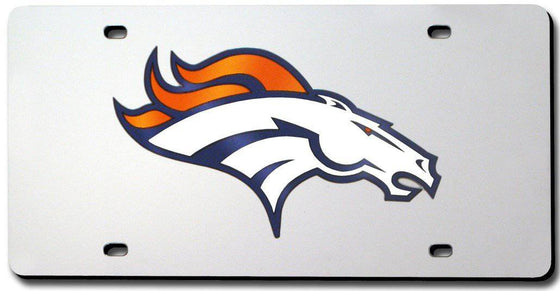 Denver Broncos Laser Cut Silver License Plate (CDG)