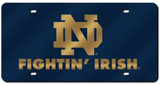 Notre Dame Fighting Irish Laser Cut Navy License Plate (CDG)