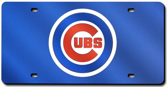 Chicago Cubs Laser Cut Blue License Plate (CDG)