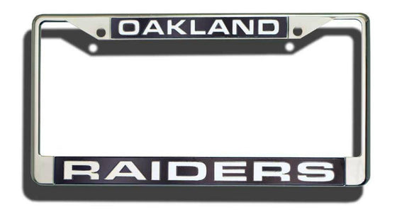 NFL Oakland Raiders Laser-Cut Chrome License Plate Frame - 757 Sports Collectibles