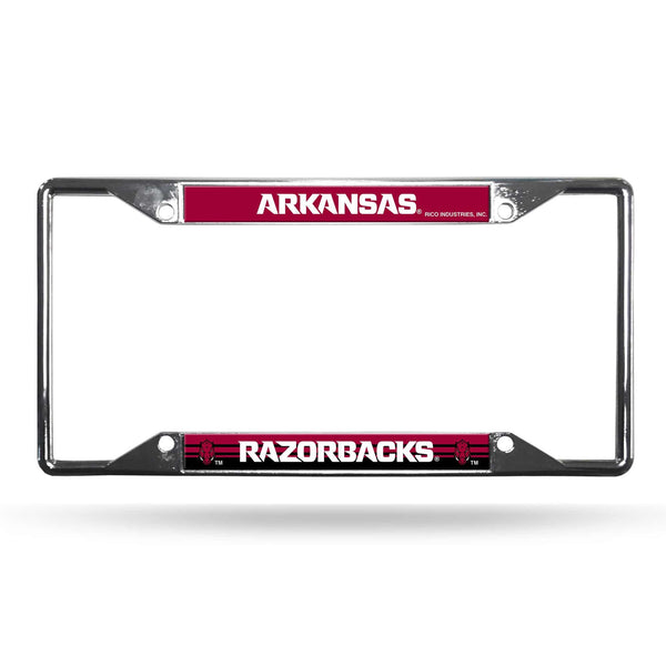 Arkansas Razorbacks License Plate Frame Chrome EZ View (CDG)