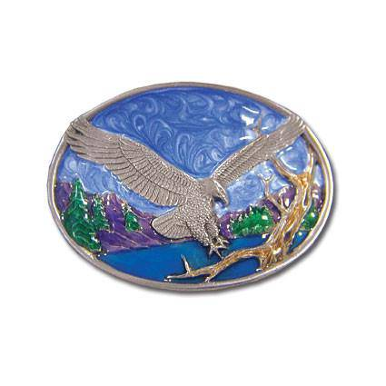 Small Eagle Landing Enameled Belt Buckle (SSKG)