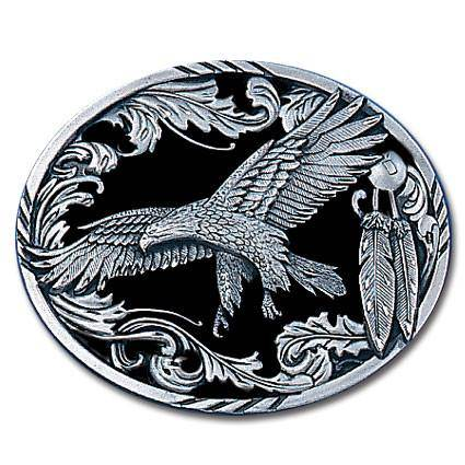 Scroll Eagle (Diamond Cut) Enameled Belt Buckle (SSKG)