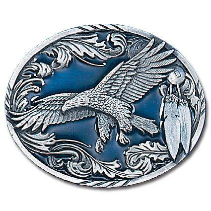 Western Eagle/Feathers  Enameled Belt Buckle (SSKG) - 757 Sports Collectibles