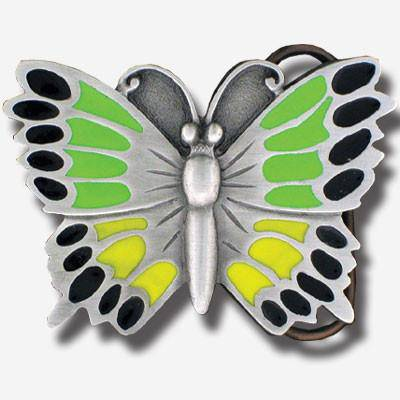Butterfly Green Enameled Belt Buckle (SSKG) - 757 Sports Collectibles