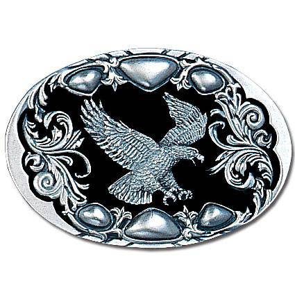 Flying Eagle (Diamond Cut) Enameled Belt Buckle (SSKG) - 757 Sports Collectibles