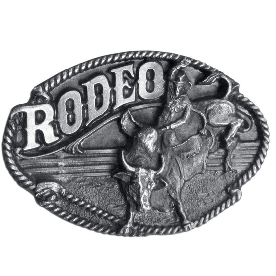Rodeo Bull Rider Antiqued Belt Buckle (SSKG) - 757 Sports Collectibles