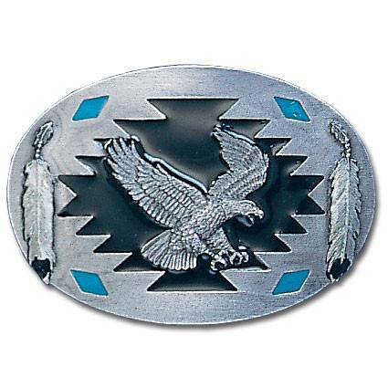 Flying Eagle with Feathers  Enameled Belt Buckle (SSKG)