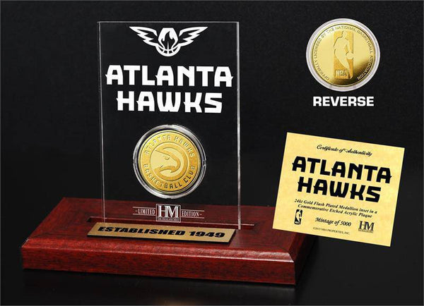 Atlanta Hawks 24KT Gold Coin Etched Acrylic  (HM)