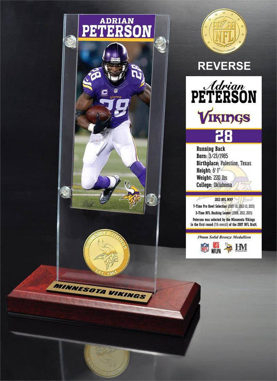 Minnesota Vikings Adrian Peterson Ticket & Bronze Coin Ticket Acrylic (HM)