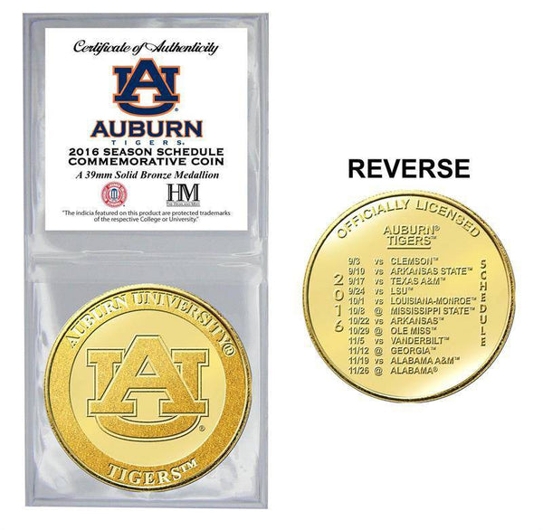 Auburn Tigers Auburn University 2016 Schedule Bronze Mint Coin (HM)