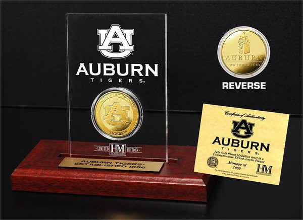 Auburn Tigers Auburn University 24KT Gold Coin Etched Acrylic (HM)