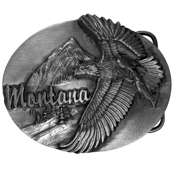 Montana Eagle Antiqued Belt Buckle (SSKG) - 757 Sports Collectibles