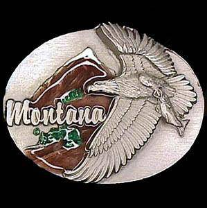 Montana Eagle Enameled Belt Buckle (SSKG)