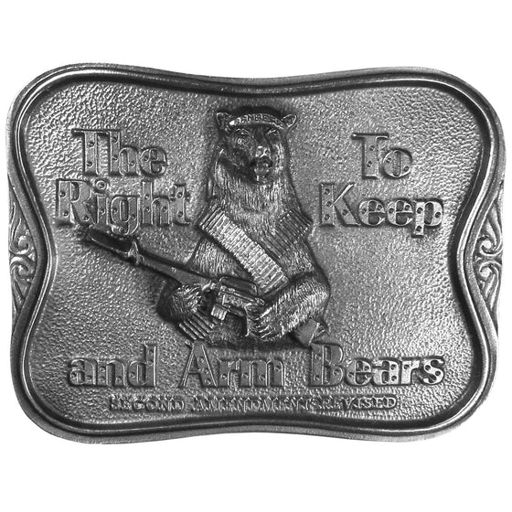 The Right To Keep and Arm Bears Antiqued Belt Buckle (SSKG) - 757 Sports Collectibles