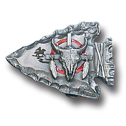 Bison Head on Arrowhead Enameled Belt Buckle (SSKG)