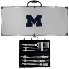 Michigan Wolverines 8 pc Stainless Steel BBQ Set w/Metal Case (SSKG)