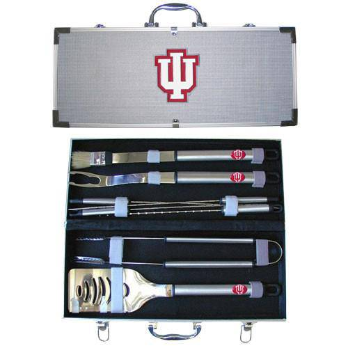 Indiana Hoosiers 8 pc Stainless Steel BBQ Set w/Metal Case (SSKG)