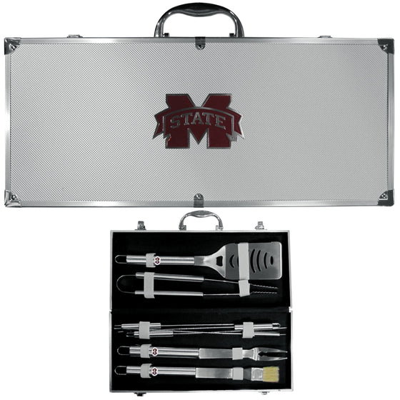 Mississippi St. Bulldogs 8 pc Stainless Steel BBQ Set w/Metal Case (SSKG) - 757 Sports Collectibles
