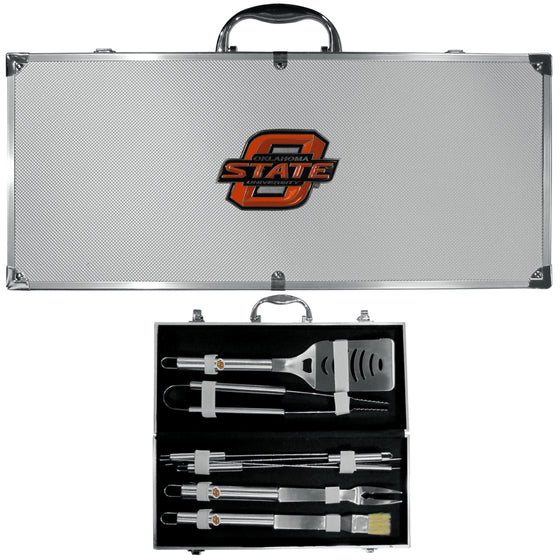 Oklahoma State Cowboys 8 pc Stainless Steel BBQ Set w/Metal Case (SSKG) - 757 Sports Collectibles