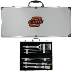 Oklahoma State Cowboys 8 pc Stainless Steel BBQ Set w/Metal Case (SSKG)